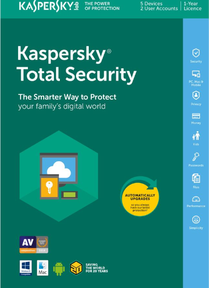 Kaspersky Total Security 2019 5 PC 1 Year Key North America